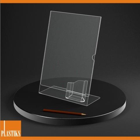 Presentoir De Visuel Acrylique A4 Avec Porte Cartes Visite